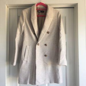 Zara cream wool coat sz L NWT
